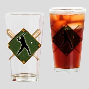 Baseball Diamond with Crossed Bats Drinking Glass