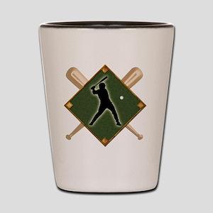 Baseball Diamond with Crossed Bats Shot Glass