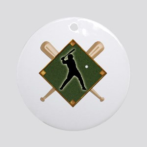 Baseball Diamond with Crossed Bats Round Ornament