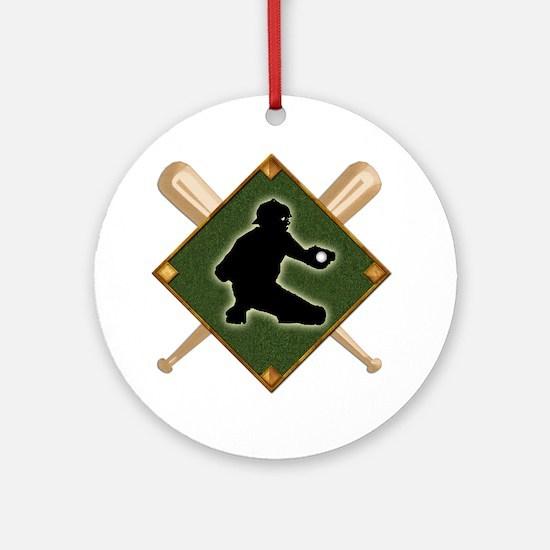 Baseball Diamond with Crossed Bats Round Ornament