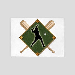 Baseball Diamond with Crossed Bats 5'x7'Area Rug