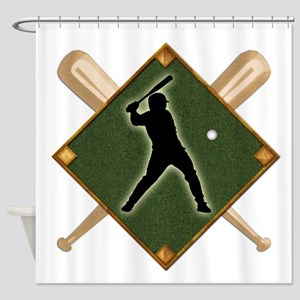 Baseball Diamond with Crossed Bats Shower Curtain