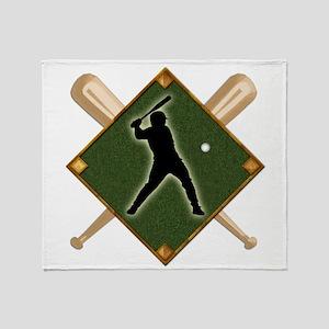 Baseball Diamond with Crossed Bats a Throw Blanket