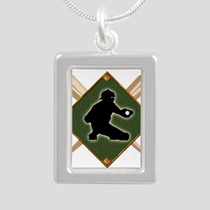 Baseball Diamond with Crossed Bats and C Necklaces