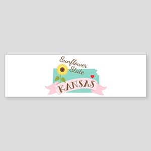 Kansas State Outline Sunflower Bumper Sticker