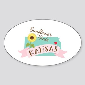Kansas State Outline Sunflower Sticker
