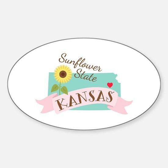 Kansas State Outline Sunflower Decal
