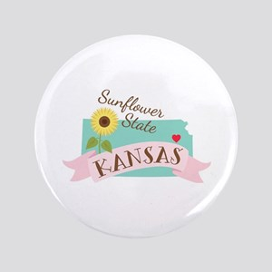 Kansas State Outline Sunflower Button