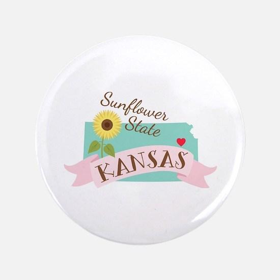 Kansas State Outline Sunflower Button