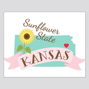 Kansas State Outline Sunflower Posters
