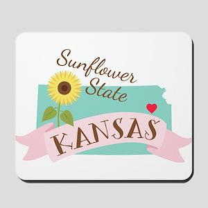 Kansas State Outline Sunflower Mousepad