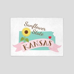 Kansas State Outline Sunflower 5'x7'Area Rug
