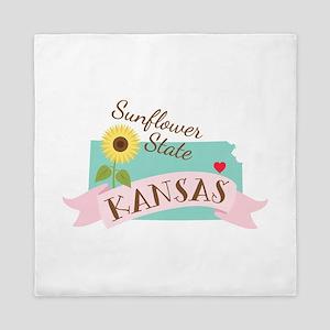 Kansas State Outline Sunflower Queen Duvet