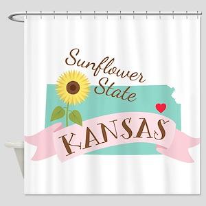 Kansas State Outline Sunflower Shower Curtain