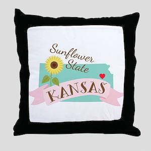 Kansas State Outline Sunflower Throw Pillow