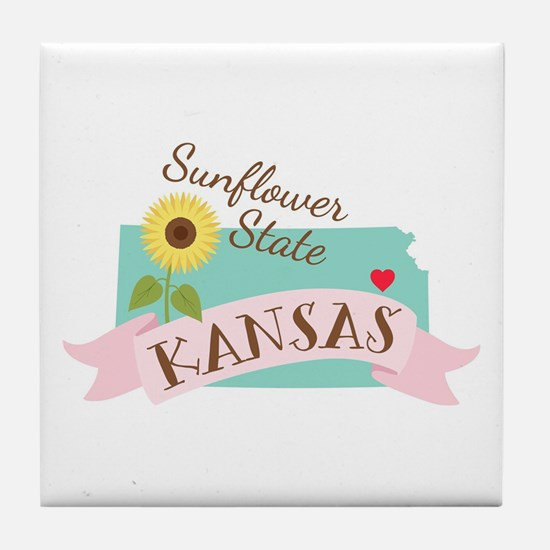 Kansas State Outline Sunflower Tile Coaster