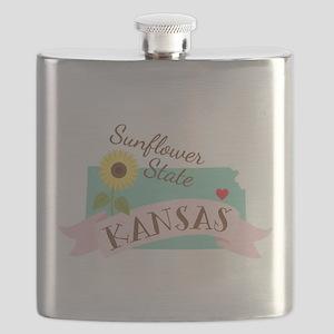 Kansas State Outline Sunflower Flask