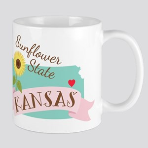 Kansas State Outline Sunflower Mugs