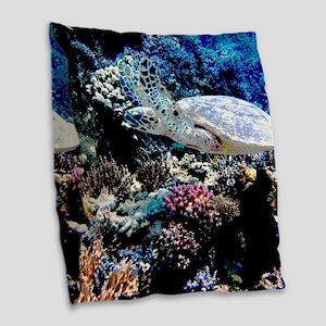 Sea Turtle Burlap Throw Pillow