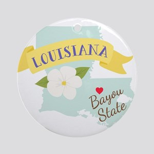 Louisiana Bayou State Outline Magnolia Flower Orna