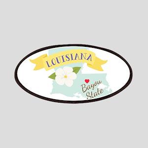 Louisiana Bayou State Outline Magnolia Flower Patc