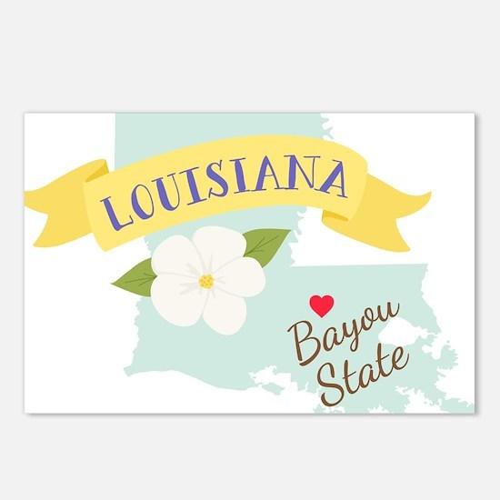 Louisiana Bayou State Outline Magnolia Flower Post