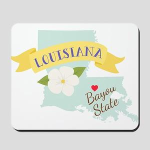 Louisiana Bayou State Outline Magnolia Flower Mous