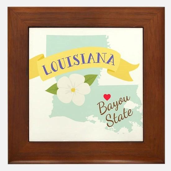 Louisiana Bayou State Outline Magnolia Flower Fram