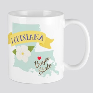Louisiana Bayou State Outline Magnolia Flower Mugs