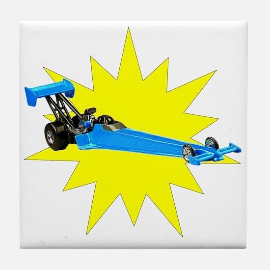 Blue Dragster Tile Coaster