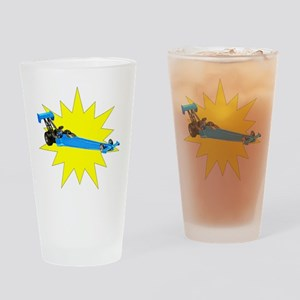 Blue Dragster Drinking Glass