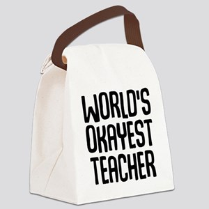 World's Okayest Teacher Canvas Lunch Bag