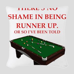 billiards joke Woven Throw Pillow