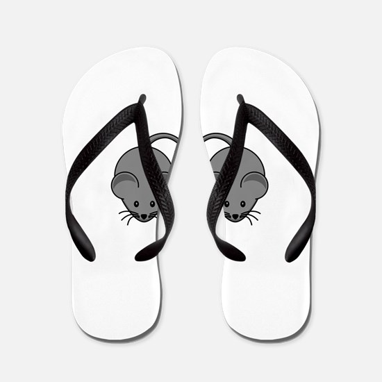 Mouse Love Couple with Two Black Mice Flip Flops