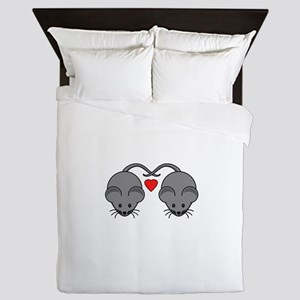 Mouse Love Couple with Two Black Mice Queen Duvet