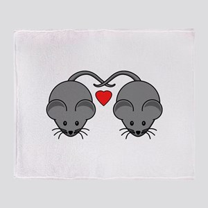 Mouse Love Couple with Two Black Mic Throw Blanket