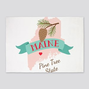 Maine State Outline Pine Cone Tree 5'x7'Area Rug