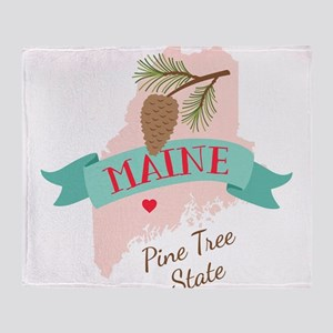 Maine State Outline Pine Cone Tree Throw Blanket