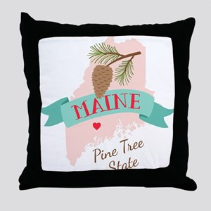 Maine State Outline Pine Cone Tree Throw Pillow