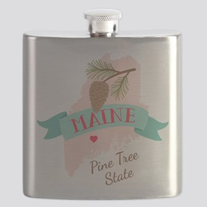 Maine State Outline Pine Cone Tree Flask