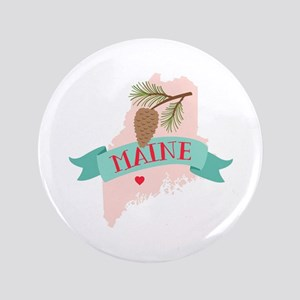 Maine State Outline Pine Cone Tree Button
