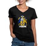Sidney Family Crest Women's V-Neck Dark T-Shirt