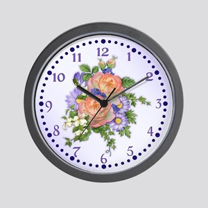 Rose and Ivy Bouquet Wall Clock