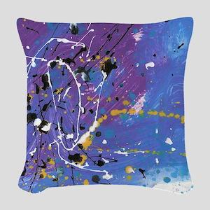 Blue Pollock-Style Woven Throw Pillow