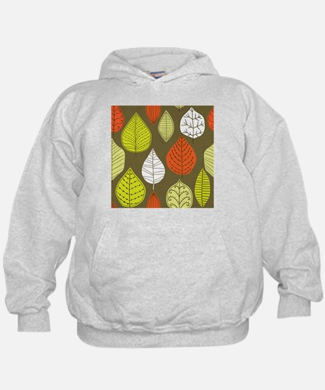 Leaves on Green Mid Century Modern Hoodie