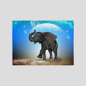 Cute baby elephant 5'x7'Area Rug
