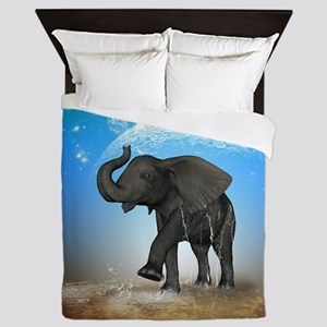 Cute baby elephant Queen Duvet