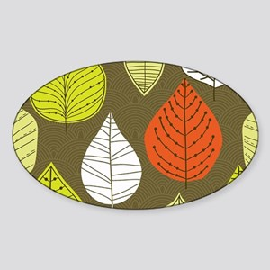 Leaves on Green Mid Century Modern Sticker