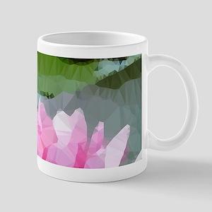 Pink Water Lilies Geometric Floral Mugs