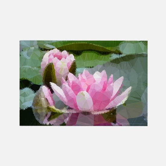 Pink Water Lilies Geometric Floral Magnets